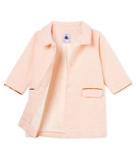 Abrigo de rayas para bebé niña blanco Marshmallow / rosa Rosako