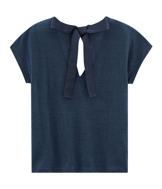 Camiseta manga corta de lino para mujer azul Haddock