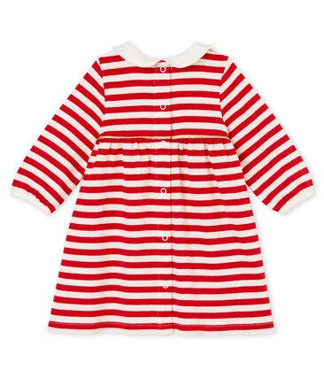 Vestido a rayas con cuello para niña rojo Terkuit / blanco Marshmallow