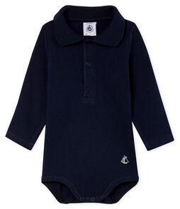 Body de manga larga con cuello de polo para bebé niño azul Smoking