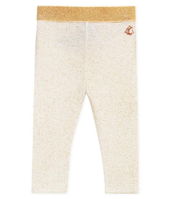 Leggings con lentejuelas para bebé niña blanco Marshmallow / rosa Copper