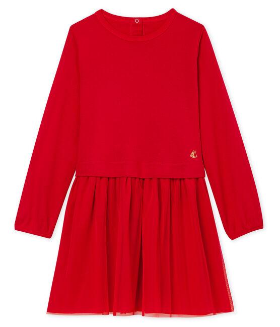 Vestido infantil bimaterial para niña rojo Terkuit