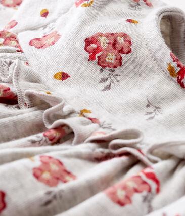 Vestido de manga larga estampado para bebé niña gris Beluga / blanco Multico
