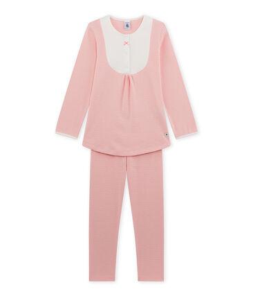 Pijama milrayas para niña rosa Gretel / blanco Lait
