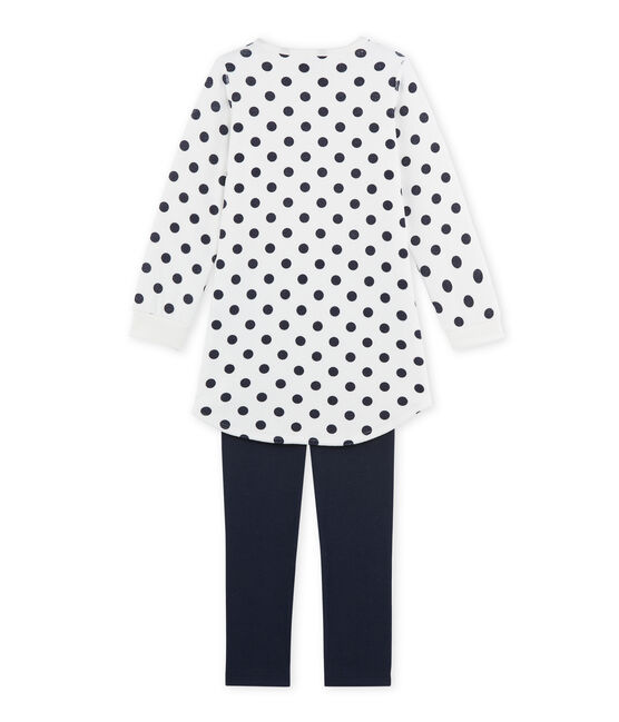 Camisón de terciopelo para niña azul Smoking / blanco Lait