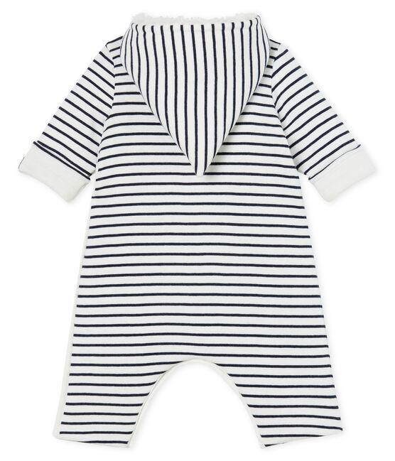 Mono largo de bebé niño acolchado blanco Marshmallow / azul Smoking