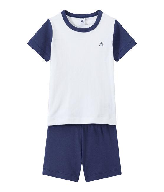 Pijama corto bicolor para niño azul Chaloupe / blanco Ecume