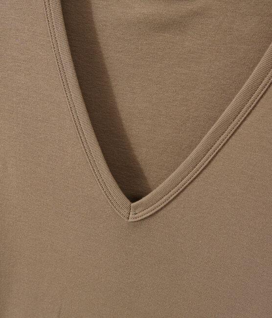 Camiseta con cuello en pico, de punto original, para mujer marrón Shitake