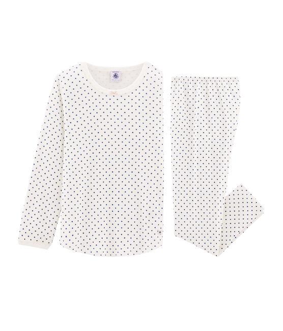 Pijama de punto para niña blanco Marshmallow / azul Major