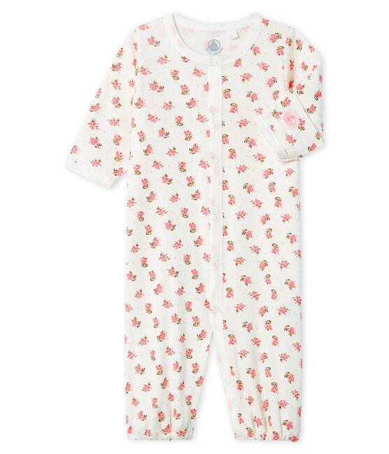 Mono saco para bebé de punto blanco Marshmallow / rosa Gretel