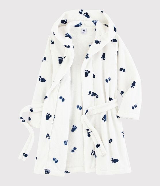 Bata de casa de polar para niño blanco Marshmallow / azul Medieval