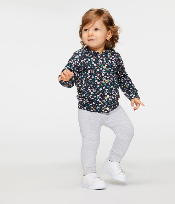 Cárdigan de tela túbica estampada para bebé niña azul Smoking / blanco Multico