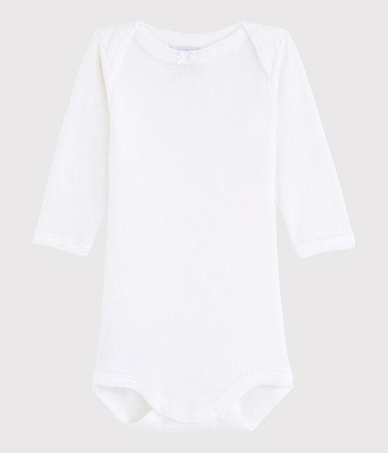 Bodi de manga larga de bebé niña blanco Ecume