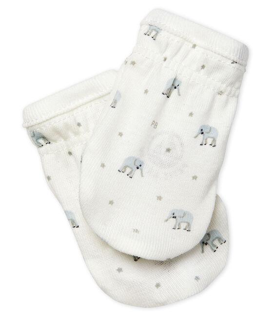 Par de manoplas para bebé de punto blanco Marshmallow / blanco Multico