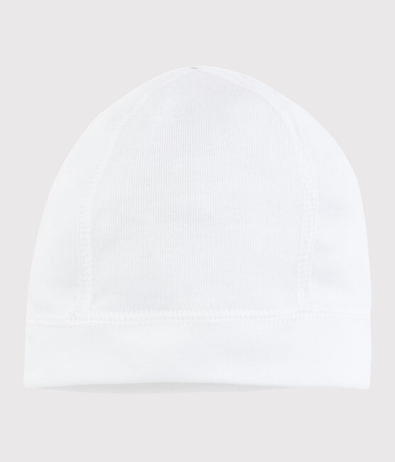 Gorro de recién nacido blanco de algodón blanco Ecume