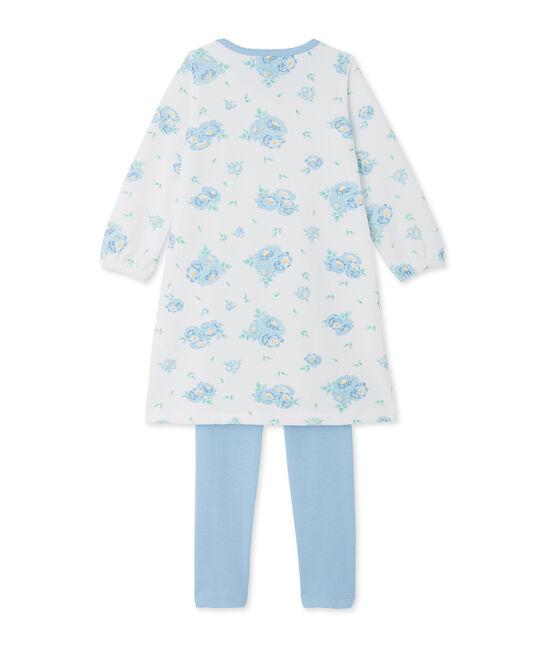 Camisón de terciopelo estampado con legging a juego blanco Lait / azul Bleu