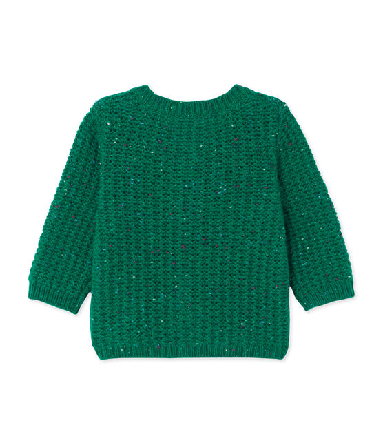Cardigan para bebé niña en lana verde Gazon