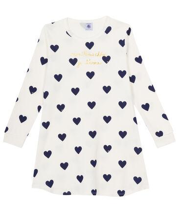 Camisón para niña de punto blanco Marshmallow / azul Medieval