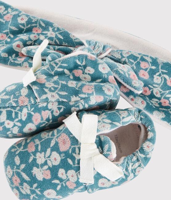 Juego de cinta y patucos de flores de terciopelo para bebé niña MOZAIK/MULTICO