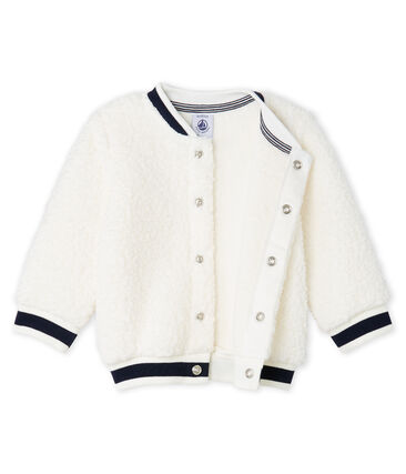 Cárdigan de sherpa de borreguillo para bebé unisex blanco Marshmallow