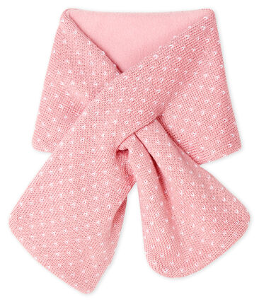 Bufanda para bebé unisex con forro polar rosa Charme / blanco Marshmallow