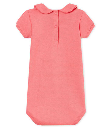 Body manga corta cuello claudine brillante para bebé niña rosa Cupcake / rosa Copper