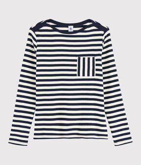 Camiseta a rayas para mujer azul Smoking / blanco Marshmallow