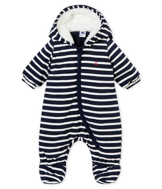 Buzo de microfibra y rayas marineras para bebé niño azul Smoking / blanco Marshmallow