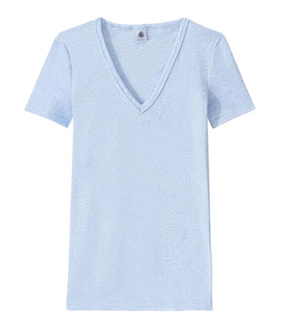 Camiseta con cuello en pico, de punto original, para mujer azul Cumulus Chine