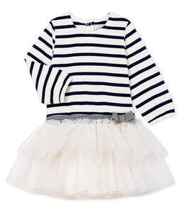 Vestido de manga larga de rayas para bebé niña