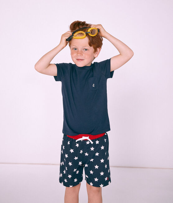 Shorts de playa infantiles para niño azul Smoking / blanco Marshmallow