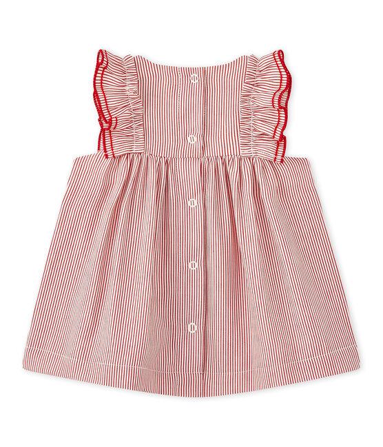 Vestido para bebé en popelina a rayas blanco Lait / rojo Terkuit