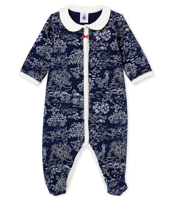 Pelele de noche para bebé niña azul Smoking / blanco Ecume