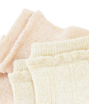 Lote de 2 pares de calcetines niña blanco Marshmallow / rosa Minois