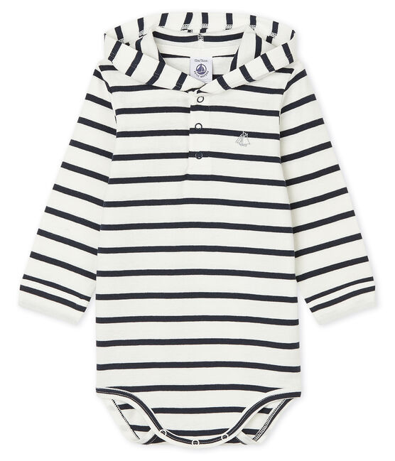 Bodi con capucha para bebé niño blanco Marshmallow / azul Smoking