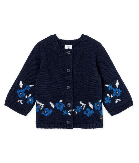 Cárdigan de punto de lana y algodón para bebé niña azul Smoking / blanco Multico