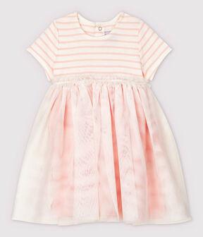 Vestido de dos materiales de manga corta de bebé niña blanco Marshmallow / rosa Minois