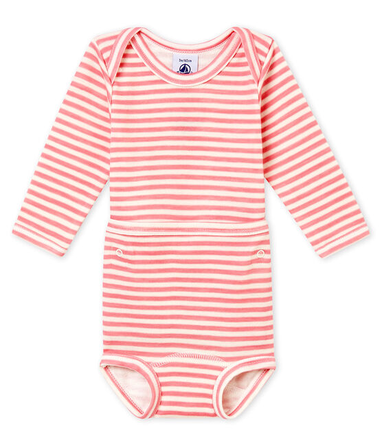 Body de manga larga 2 en 1 para bebé niño rosa Cheek / blanco Marshmallow