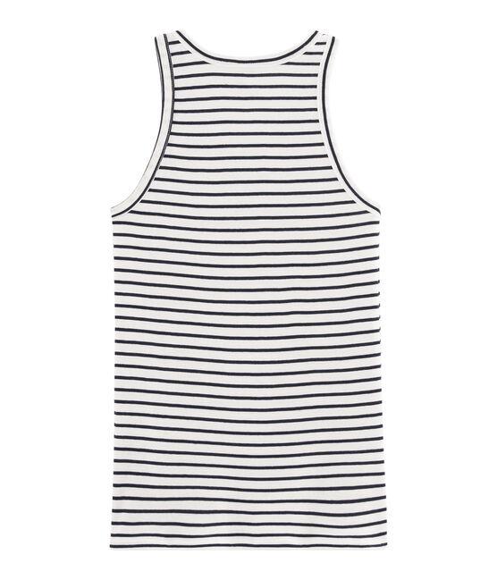 Camiseta de tirantes icónica para mujer blanco Marshmallow / azul Smoking