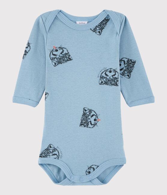 Bodi de manga larga de bebé niña/niño azul Acier / blanco Multico