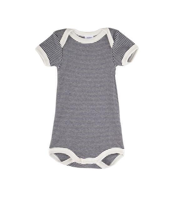 Bodi manga corta para bebé niña - bebé niño azul Smoking / blanco Lait