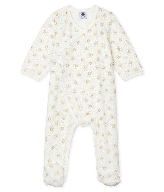 Pijama de terciopelo para bebé de niña blanco Marshmallow / amarillo Or