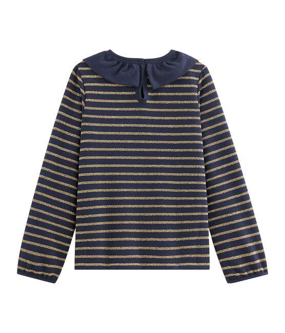Camiseta de punto de jersey de niña azul Smoking / amarillo Or