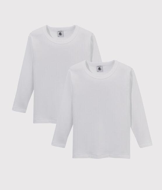 Lote de 2 camisetas manga larga blancas niño lote .