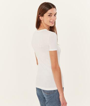 Camiseta manga corta lisa para mujer blanco Ecume