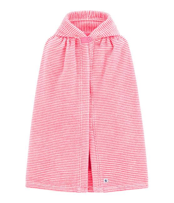 Capa de baño de rayas para bebé rosa Petal / blanco Lait