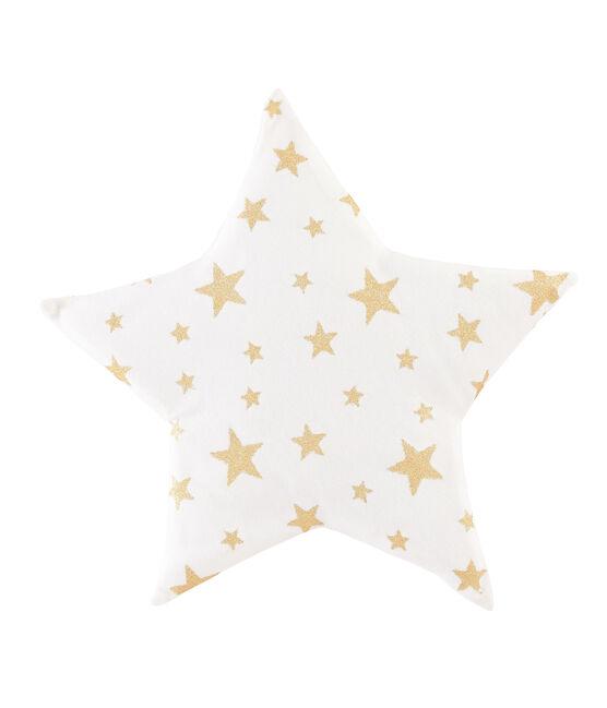 Cojín de punto para bebé blanco Marshmallow / amarillo Or