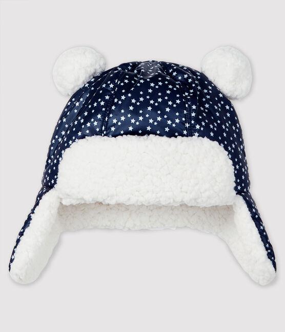 Gorro «chapka» impermeable para bebé niño azul Smoking / blanco Marshmallow
