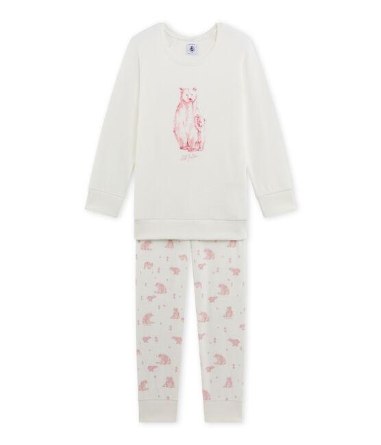 Pijama de rizo para niña blanco Lait / rosa Vienne