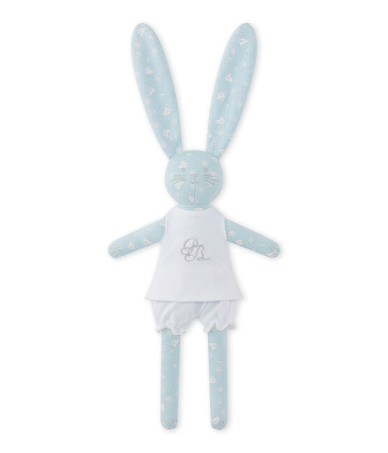 Doudou conejito estampado azul Toudou / blanco Ecume